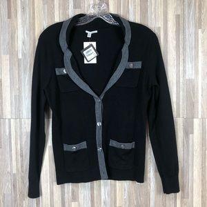 Halogen | Black with Gray Collar 3 Button Cardigan